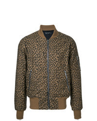 Cazadora de aviador de leopardo marrón