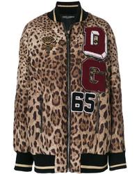 Cazadora de Aviador de Leopardo Marrón de Dolce & Gabbana