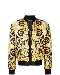 Cazadora de aviador estampada en negro y dorado de Versace