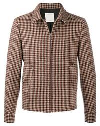Cazadora harrington de lana a cuadros marrón de Sandro Paris