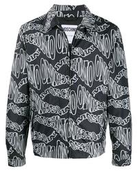 Cazadora harrington estampada en negro y blanco de Moschino