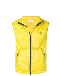 Chaleco de abrigo acolchado amarillo de Stone Island
