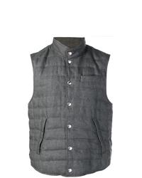 Chaleco de abrigo acolchado en gris oscuro de Brunello Cucinelli