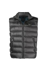 Chaleco de abrigo acolchado en gris oscuro de Prada