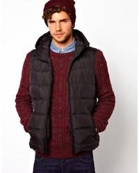 Chaleco de abrigo acolchado en marrón oscuro de Asos