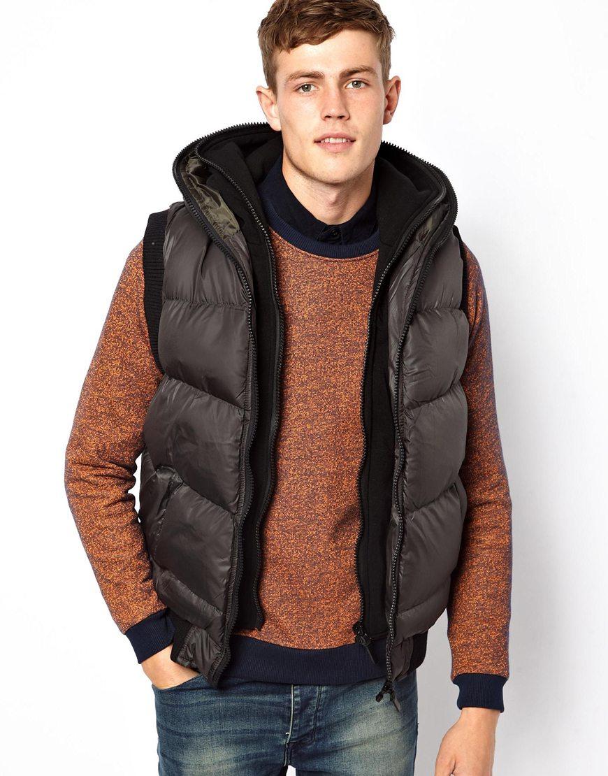 Chaleco de abrigo acolchado en marrón oscuro de Brave Soul