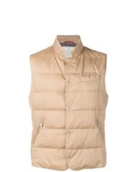 Chaleco de abrigo acolchado marrón claro de Brunello Cucinelli