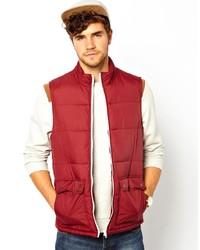 Chaleco de abrigo acolchado rojo de Asos