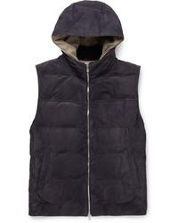 Chaleco de abrigo de ante azul marino de Brunello Cucinelli