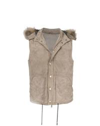 Chaleco de abrigo de ante marrón claro