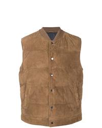 Chaleco de abrigo de ante marrón claro de Eleventy