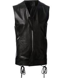 Chaleco de abrigo de cuero negro de Rick Owens
