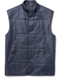 Chaleco de abrigo de lana a cuadros azul marino