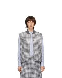 Chaleco de abrigo de lana a cuadros gris de Thom Browne
