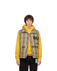 Chaleco de abrigo de tartán marrón claro de Burberry