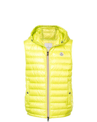 Chaleco de abrigo en amarillo verdoso de Moncler