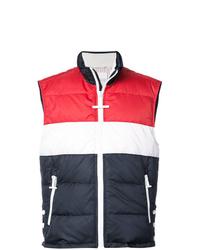 Chaleco de abrigo en blanco y rojo y azul marino de Thom Browne