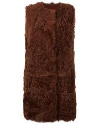 Chaleco de pelo marrón de Yves Salomon