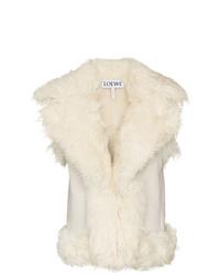 Chaleco de piel de oveja blanco de Loewe