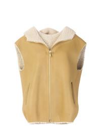 Chaleco de piel de oveja marrón claro de Michael Kors Collection