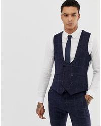 Chaleco de vestir a cuadros azul marino de Twisted Tailor
