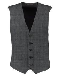 Chaleco de Vestir a Cuadros en Gris Oscuro de Burton Menswear London