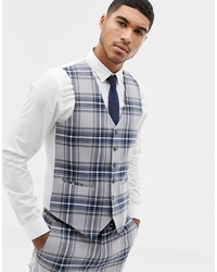 Chaleco de vestir a cuadros gris de ASOS DESIGN