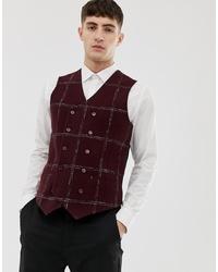 Chaleco de vestir de lana a cuadros burdeos