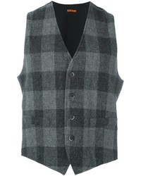 Chaleco de vestir de lana a cuadros en gris oscuro