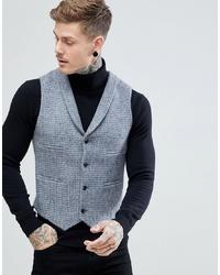Chaleco de vestir de lana a cuadros gris de ASOS DESIGN