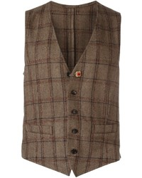Chaleco de vestir de lana a cuadros marrón