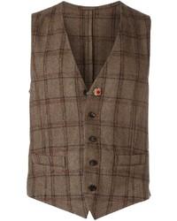 Chaleco de vestir de lana a cuadros marrón de Lardini