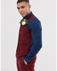 Chaleco de vestir de lana a cuadros rojo de ASOS DESIGN
