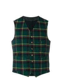 Chaleco de vestir de lana a cuadros verde oscuro