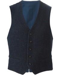 Chaleco de vestir de lana azul marino