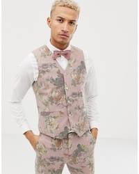 Chaleco de vestir de lana con print de flores rosado de ASOS DESIGN