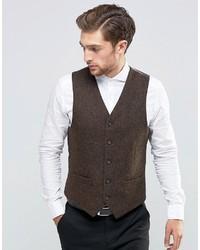 Chaleco de vestir de lana de espiguilla marrón