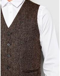 Chaleco de vestir de lana de espiguilla marrón de Asos