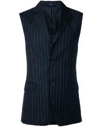 Chaleco de vestir de lana de rayas verticales negro de Alexander McQueen