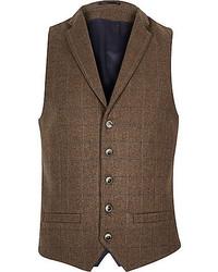 Chaleco de vestir de lana de tartán en marrón oscuro