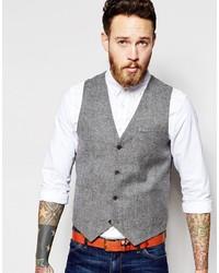Chaleco de vestir de lana gris de Asos