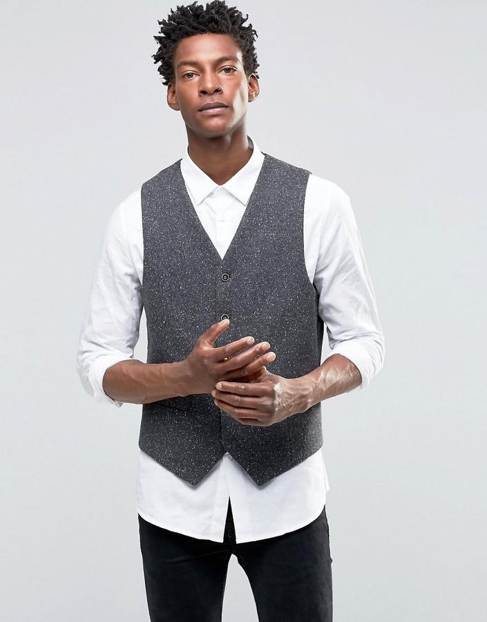 Chaleco de vestir de lana gris