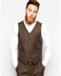 Chaleco de vestir de lana marrón de Asos