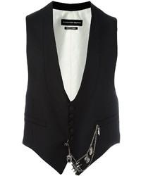 Chaleco de vestir de lana negro de Alexander McQueen
