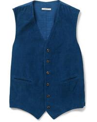 Chaleco de Vestir de Pana Azul Marino de Boglioli