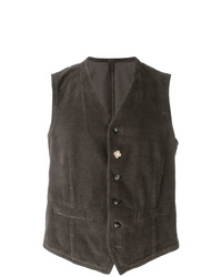 Chaleco de vestir de pana en marrón oscuro de Lardini