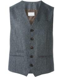 Chaleco de vestir de rayas verticales en gris oscuro