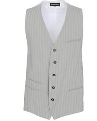 Chaleco de vestir de rayas verticales gris