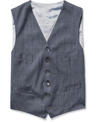 Chaleco de vestir de seda azul de Richard James