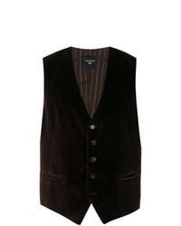 Chaleco de vestir de terciopelo en marrón oscuro